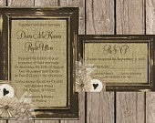 Rustic Wedding Invitation, Burlap Wedding Invitation, Wood Wedding Invitation, Country Wedding Invitation,stom