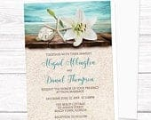 Beach Wedding Invitations, Lily Seashells Sand Teal destination summer tropical wedding invites Printed