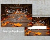 Elegant Rustic Fall Wedding Invitation,Autumn Leaves,Fall Leaves,Rustic Wood,Romantic,Customize,Printed Invitation,Wedding Set,Opt RSVP Card