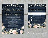 Rustic Navy and Pink Floral Summer Wedding Invitation,Pink,Blush,Roses,Fairy Lights,Navy Barn Wood,Gold Print,Shimmery,Printed Invitation