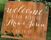 Simple Personalized Wedding Welcome Sign Names and Date Decal Wall Custom Vinyl Stickers for Weddings, Wedding Signs, Chalkboard, Mirrors