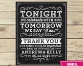 Wedding Rehearsal Dinner Sign Tonight We Celebrate With You Tomorrow We Say I Do Sign Printable Wedding Thank You Chalkboard Sign