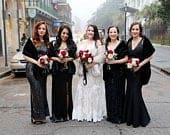 Black Faux furs Set of 4 Bridesmaids Gifts Faux Fur Shawls Long Stoles Bridal Wrap Wedding Faux Furs Fall /Winter Wedding