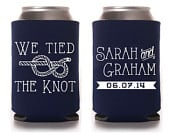 Custom Wedding Can Cooler, Wedding Favor We Tied The Knot