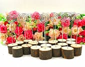 Wood Base Wedding Table Name Number Holder Rustic Real Table Numbers Party Decoration Card Holders Picture Memo Note Photo Clip Holder