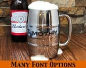 Custom Engraved Personalized Beer Mug, Stainless Steel Double Wall Insulated, Groomsmen Gift, Gifts for Men, Bar Ware, 21st Birthday, Dad