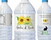 Printed Personalized Water Bottle Labels 100% Waterproof Wedding Favors 2x8.5 labels Sunflower Stickers Fall Flower Labels