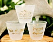 Custom Cups, 9oz, Plastic Wine Cups, Personalized Cups, Wine Cups, Party Cups, Wedding Favor, Wedding Cups, Frosted Cup, Monogram Cups
