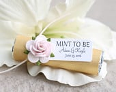 Engagement party favors Set of 24 mint rolls w/ personalized tags, gold party, pink roses, gold and pink party, wedding mints, mint to be