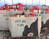 5 Cabo San Lucas Arch Mexico Destination Custom Wedding Welcome Burlap Tote Bags Handmade Favors or Bridesmaids Gifts