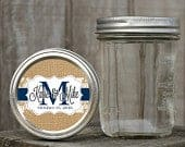 Mason Jar Lid Labels Glossy Round Sticker Label Tags Custom Wedding Favors Choice of Color Burlap and Lace Monogram Stickers