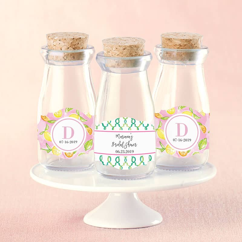 Personalized Cheery & Chic Vintage Milk Bottle Favor Jar (Set of 12)