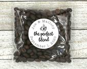 Coffee Favor Stickers for Wedding, Party or Shower The Perfect Blend, personalized stickers with optional favor bags for coffee or tea