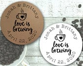 Coffee or Tea Favor Stickers for Wedding, Party, Shower Love is Brewing, personalized stickers with optional favor bags for coffee or tea
