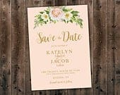 Pink Flowers, Printed Save the Date Card, Elegant Floral Country Wedding Invitation, Southern, Summer, Affordable