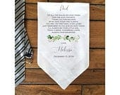 Father of the Bride gift, Wedding handkerchief, Gift, PRINTED Customized Dad Gift, Personalized. LECOPG182