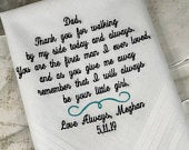 Custom Embroidered Father Of The Bride Wedding Handkerchief NCWedding Gifts Daughter Gift For Father Bride To Be Wedding Hankies Southern