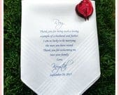 Father of the Groom handkerchief from the Bride, wedding handkerchief from daughter in law, print,Father of the groom gift from bride FOG3