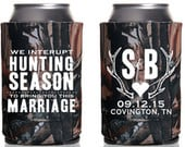 Rustic Wedding Favors, Hunting Season Wedding Favors, Gifts and Mementos, Wedding Can Cooler, Bridal Shower Gift, Antler Wedding Favor, 1303