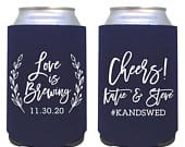 custom wedding can cooler / personalized wedding favor / custom can coolie / love is brewing / wedding custom drink / beer huggie / cheers
