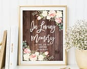 In Loving Memory Wedding Sign, Memorial Table Sign, Floral Wedding Sign, Printable Memorial Sign, Blush and White Flowers, W475