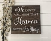 In Loving Memory Wedding Sign We Know You Would Be Here Today If Heaven Wasnt So Far Away Rustic Wedding Decor In Memory Of Sign