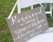 Reserved In Memory Of Sign, Wedding Decor, Reserved Sign