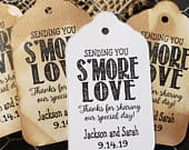 Sending You Smore Love Thanks for Sharing our Special Day (my MEDIUM) 1 3/8 x 2 1/2 Personalized Wedding Favor Tag Smore Love