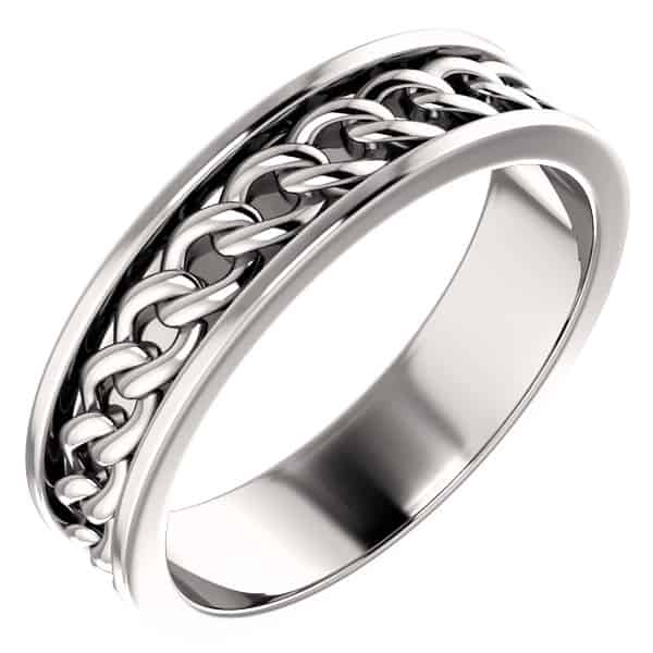 Men's 14K White Gold Link Chain Wedding Band Ring