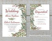 Elegant Rustic Christmas Wedding Invitation,Red,Green,Evergreen Branches,Red Berries,Red Text,Calligraphy,Shimmery,Printed Invitation,or Set