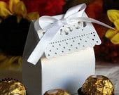 White Wedding Favor Gift Candy Boxes w/Ribbon Baby Shower Bridal Shower 25pcs