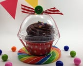 25 Clear Cupcake Boxes, Party, Wedding Favor, Candy Cup, Plastic Cupcake Container