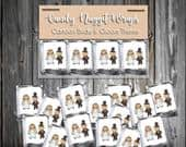 100 Candy Chocolate Wraps Bride and Groom Cartoon Personalized Wrappers Printed Wedding Favors