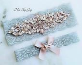 Dusty Blue Wedding Garter, Rose Gold Lace Bridal Garter, Crystal Rhinestone Garter Set, Light Blue Garter, Something Blue Garter