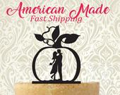 Fall Pumpkin with Couple Silhouette Wedding Cake Topper Made in USA... Fast Shipping