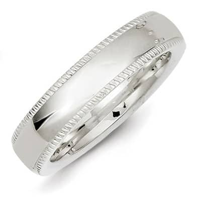 Sterling Silver 5mm Milgrain Wedding Band