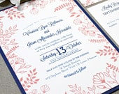 Navy and Coral Wedding Invitation Suite, Floral Wedding Invite Set, Rustic Wedding Invitations, Outdoor Wedding Pocket Invitation Forest