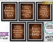 Love is Patient Love is Kind, Wedding Aisle, 1 Corinthians 13, Set of 5 Signs, PRINTABLE 8x10/16x20 Rustic Wood Style Wedding Signs ID