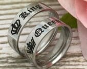 6mm King Queen Rings, His and Hers Ring, Personalize Tungsten Rings, Anniversary Rings, Gift for Her, Gift for Him, SHJTCR484