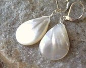 white pearl earrings, mother of pearl shell teardrops, lightweight, silver lever back ear wires