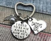 I used to be his angel now hes mine, Remembrance Gift Key Ring, Memorial Gift, Loss of Father, Sympathy Gift, Memorial keychain