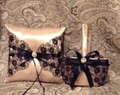 Black lace flower girl basket and champaign pillow satin custom made
