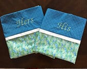 Monogrammed His and Hers pillow cases blue and green