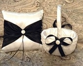 ivory or white and black custom made flower girl basket and pillow