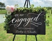 Engagement Party Sign, HAND PAINTED Rustic Wood Engagement Sign, Welcome Wedding Sign, Engagement Party Decor