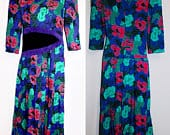 1980s KWAI Multicolor Floral Dress with Purple and Black Leather Patches Size 8 Made in USA
