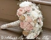 Blush Champagne Heather Gray Ivory Sola Bouquet, Sola Flowers Blush Wedding, Champagne Wedding,Alternative Bouquet, Bridal Accessories, Sola