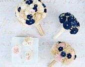 Wedding Bouquet Set with Navy Blue Sola Wood Flowers, Gold and Pink Bridal Bouquet Set, Gold Wedding Flowers Set