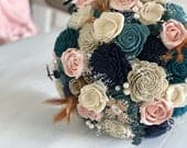 1920s Vintage Blush and Blue Bouquet Wooden Flowers Feathers Pearls Brooches Bridal Bouquet Rose Gold Wedding Flowers
