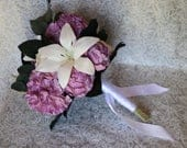 Sola Wood Flower Wedding Bouquet Featuring Hydrangea, Peonies, and Lilies Purple Artificial Flowers, Custom, Gift, Perennial Posy
